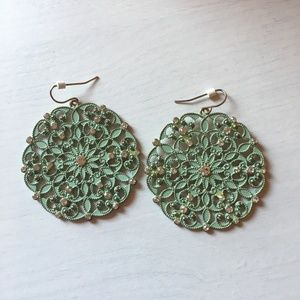 Mint Medallion Earrings with Light Gold-Tone Back
